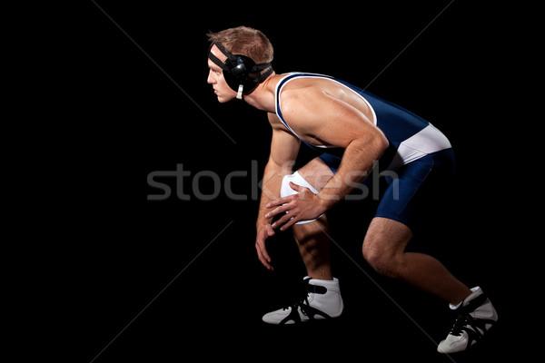 Worstelaar Blauw zwarte sport persoon Stockfoto © nickp37