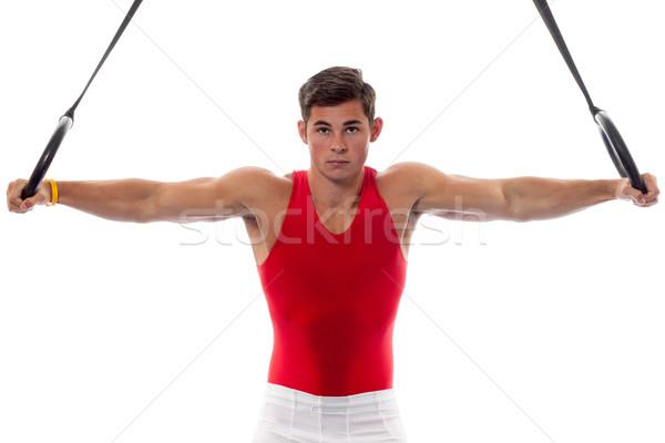 Mannelijke gymnast witte man Stockfoto © nickp37