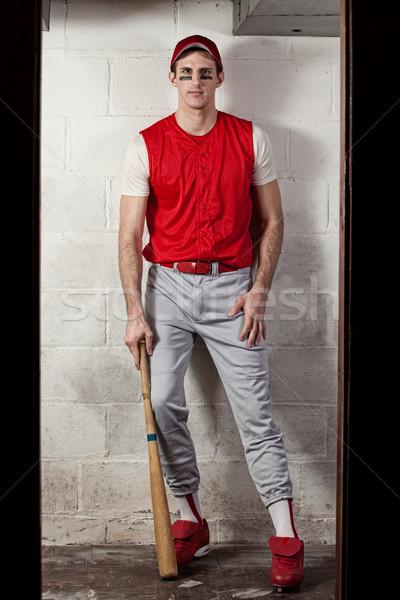 Foto d'archivio: Giocatore · di · baseball · concrete · muro · uomo · sport · baseball