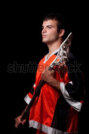 Férfi lacrosse játékos stúdiófelvétel fekete férfi Stock fotó © nickp37