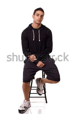 Stock fotó: Lezser · fiatalember · stúdiófelvétel · fehér · férfi · férfi