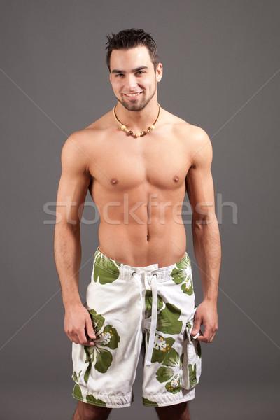çekici genç gri adam mayo Stok fotoğraf © nickp37