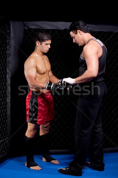 Stockfoto: Gemengd · strijd · kunstenaar · sport · spier · bokser