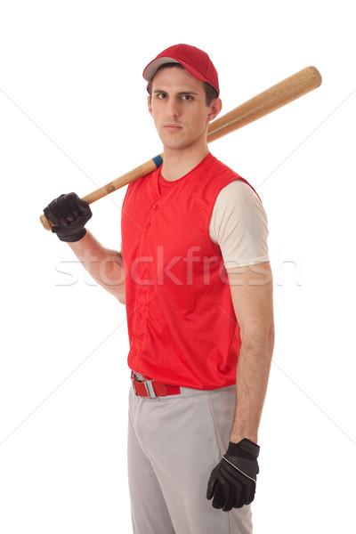 Photo stock: Homme · joueur · de · baseball · blanche · sport · chapeau