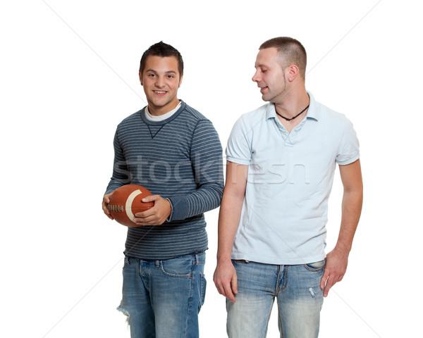 Két férfi futball férfi barátok férfi felnőtt Stock fotó © nickp37