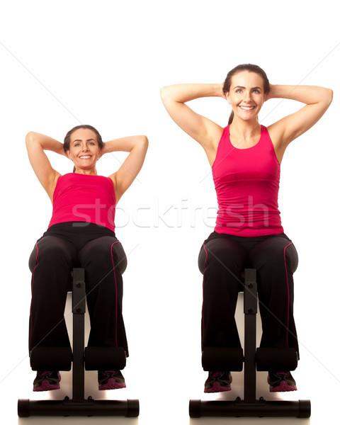 сидеть осуществлять белый женщины человек Сток-фото © nickp37