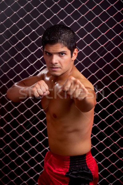 Mixed martial artist posed in front of chain link Stock photo © nickp37