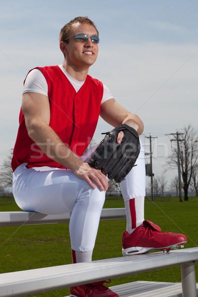 Jogador de beisebol esportes equipe vermelho parque branco Foto stock © nickp37