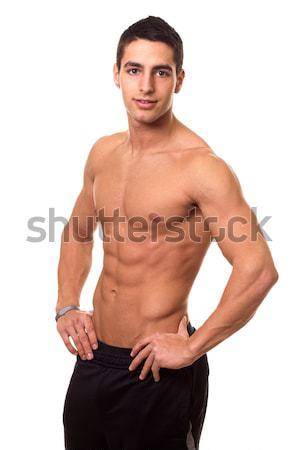 Stockfoto: Atletisch · man · shirtless · witte · fitness