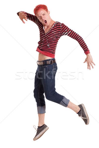 Сток-фото: молодым · человеком · прыжки · белый · человека · движения