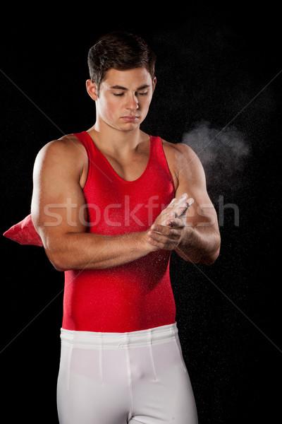 Photo stock: Homme · gymnaste · noir · homme