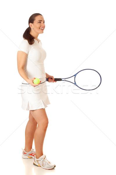 Stock fotó: Teniszező · felnőtt · nő · játszik · tenisz · stúdiófelvétel