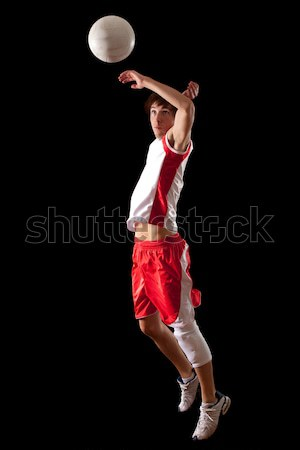 Erkek voleybol oyuncu siyah adam Stok fotoğraf © nickp37