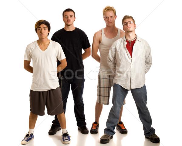 Pequeno grupo jovens branco quatro homens Foto stock © nickp37