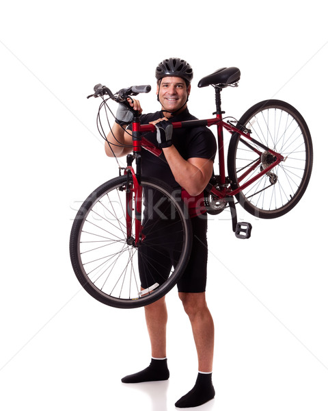 Cyclist With Bike Stock photo © nickp37