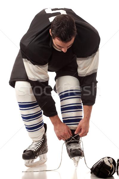 Stock fotó: Jégkorong · játékos · öntet · stúdiófelvétel · fehér · férfi