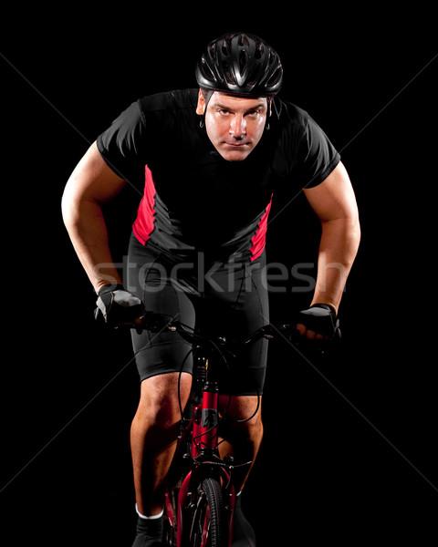 Stock foto: Radfahrer · Reiten · Fahrrad · Sport · rot · schwarz