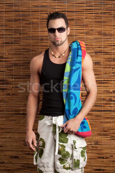 çekici genç adam mayo bambu Stok fotoğraf © nickp37