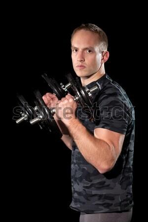 Jégkorong játékos stúdiófelvétel fekete jégkorongozó férfi Stock fotó © nickp37