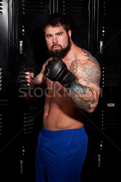 Gespierd vechter kleedkamer wedstrijd man sport Stockfoto © nickp37