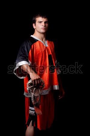 Masculino lacrosse jogador preto homem Foto stock © nickp37