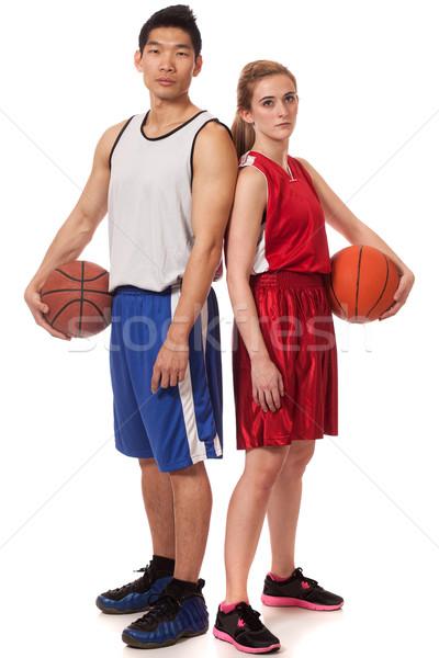 Stock fotó: Kosárlabda · játékosok · férfi · női · stúdiófelvétel · fehér