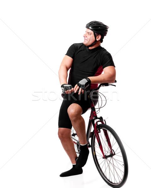 велосипедист велосипедов взрослый мужчины белый Сток-фото © nickp37