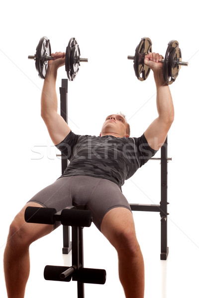 Photo stock: Jeune · homme · poids · blanche · fitness