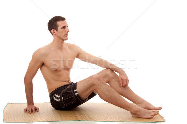 Adam tahta şort beyaz adam mayo Stok fotoğraf © nickp37