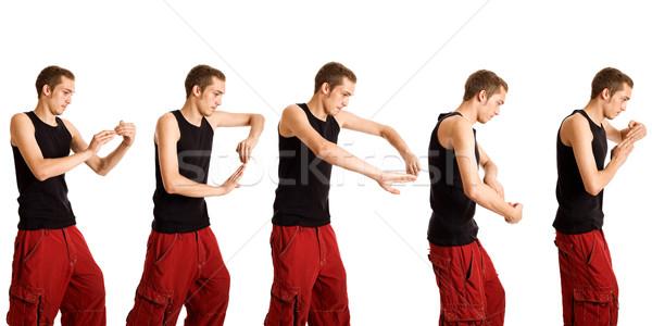 Сток-фото: молодым · человеком · танцы · движения · белый · человека