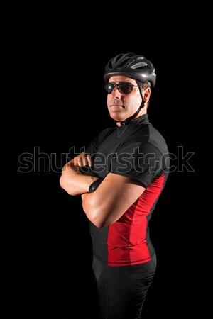 Foto d'archivio: Ciclista · uomo · rosso · persona · casco · piedi