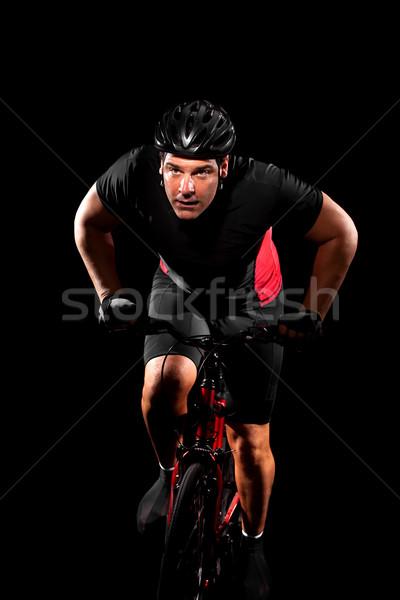 Stock foto: Radfahrer · Reiten · Fahrrad · Mann · rot · Studio