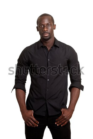 Man in black. Studio shot over white. Stock photo © nickp37