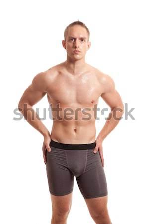 Sportlich Junger Mann Weiss Fitness Schonheit