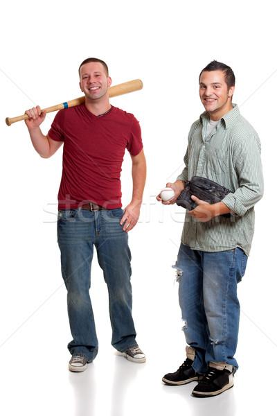 Dois homens beisebol homem amigos homens jeans Foto stock © nickp37