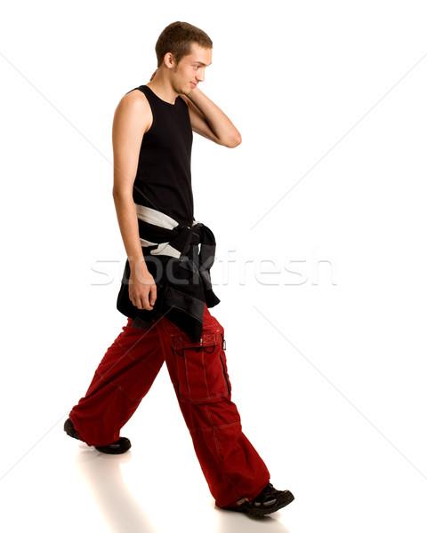 Сток-фото: молодым · человеком · ходьбе · белый · человека · взрослый