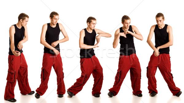 Fiatalember tánc mozgás stúdiófelvétel fehér férfi Stock fotó © nickp37