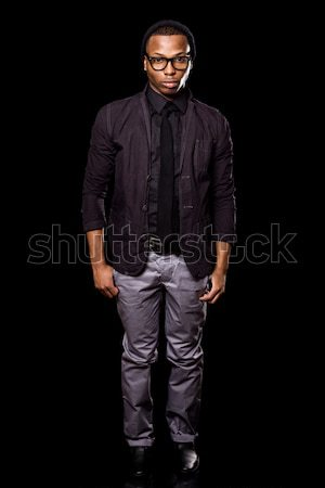 Elegante moço preto homem óculos Foto stock © nickp37