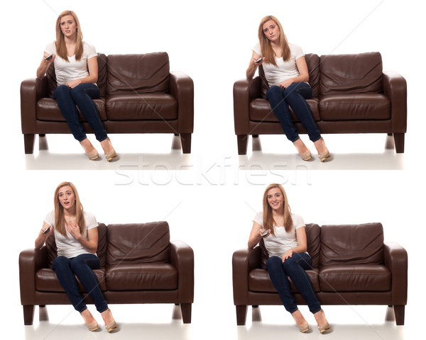 Mulher jovem televisão remoto branco Foto stock © nickp37