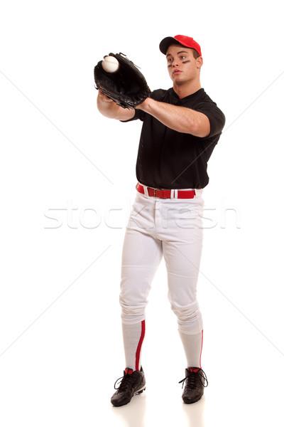 Beyzbol oyuncusu beyaz adam spor spor Stok fotoğraf © nickp37
