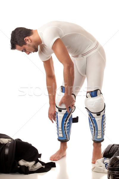 Hockey sobre hielo jugador aderezo blanco hombre Foto stock © nickp37