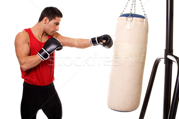 Boxing workout with heavy bag. Studio shot over white. Stock photo © nickp37