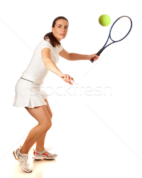 Adulte femme jouer tennis Photo stock © nickp37