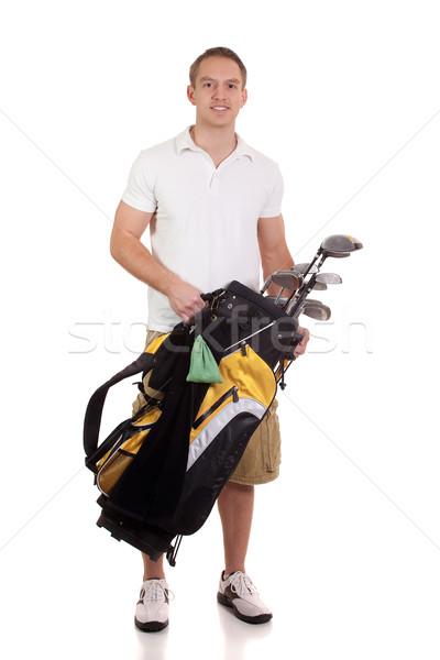 молодые мужчины гольфист белый человека Сток-фото © nickp37