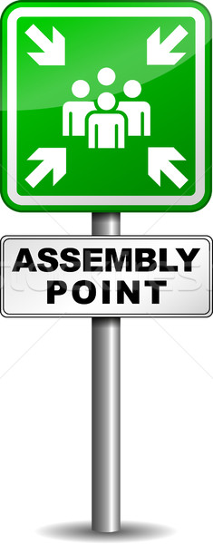 Assembly point sign Stock photo © nickylarson974