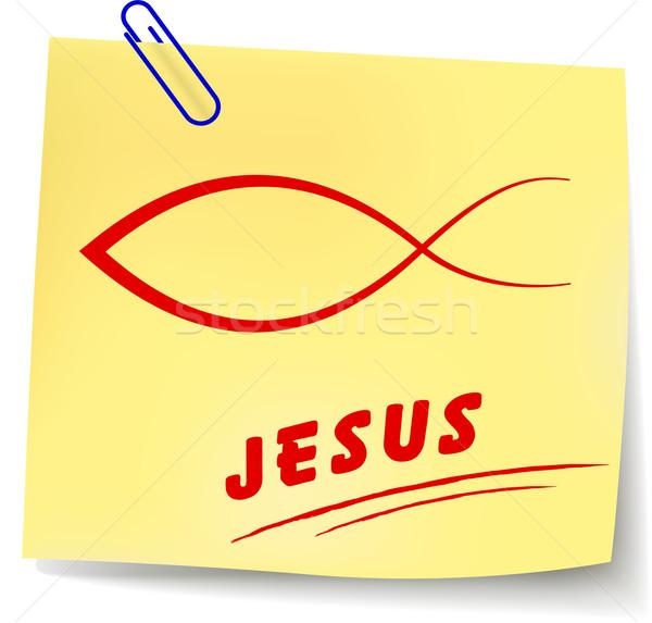 Zdjęcia stock: Wektora · Jezusa · wiadomość · papieru · biały · projektu