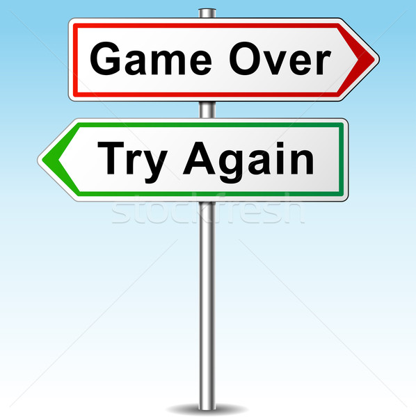 Stock photo: game over and try again directional sign