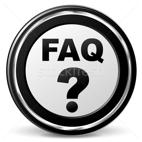 よくある質問 アイコン 実例 金属 白 にログイン ストックフォト © nickylarson974