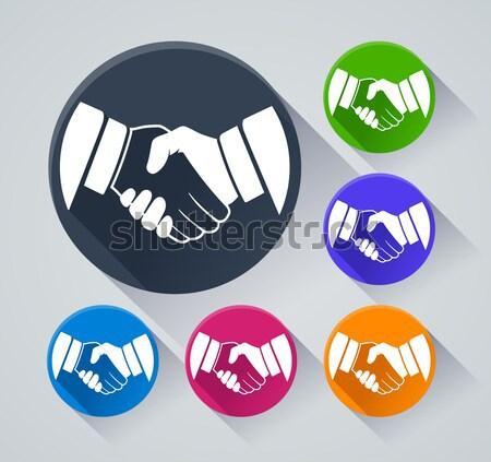шесть рукопожатие иконки иллюстрация тень рук Сток-фото © nickylarson974