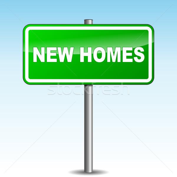Foto stock: Vetor · novo · casas · poste · de · sinalização · verde · céu